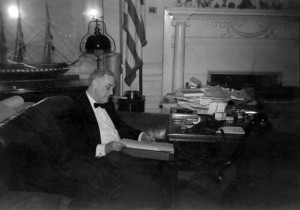 President Franklin D. Roosevelt alone in his White House study