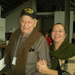 These veterans chose scarves that one of our knitters had just finished and brought with her to the knit-in!