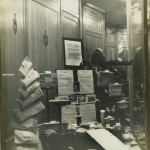 A display of the soil and letters collected by Mrs. Leggett displayed in a department store in Hattiesburg.