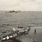 A Hellcat warms up before taking off in October 1944, somewhere in the Pacific. Gift of Charles Ives, 2011.102