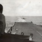 """""""A Navy Grumman F6F Hellcat lands on its carrier following a strike at Japanese installations in the Philippines"""" on 6 February 1945. Gift of Charles Ives, 2011.102"""