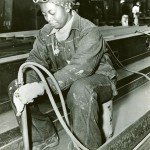 African American worker at the Richmond Shipyards