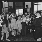 Pledge of Allegiance at a Norfolk, Virginia public school. March 1941 photograph by John Vachon.