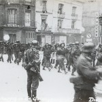 Hundreds of Allied prisoners of war are marched through Dieppe. Gift of James Moorman, 2002.439