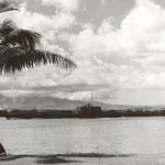 The USS <i>Argonaut</i> leaving Pearl Harbor. Gift of Jane Dickman Schlaht, 2011.124