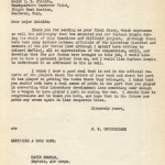 Dr. Robert Oppenheimer, chief scientist for the Manhattan Project, wrote this letter to Major C.S. Shields and Captain David Semple thanking them for their work in developing the atomic bomb. Gift of Patricia Cromiller, 2001.511