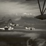Three Martin Mariner seaplanes returning to base, the Corcovado mountains in the background. 1 February 1944. Gift of Charles Ives, 2011.102