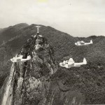 US Navy Martin Mariner seaplanes in flight over Rio de Janeiro, guarding convoys to and from Brazil. 1 February 1944. Gift of Charles Ives, 2011.102