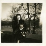 Snyder 's wife, Rose, holds Duchess in her arms, New York 1948 Gift of Howard M. Snyder, 2012.259