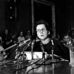 Rachel Carson testifies before Congress in 1963.  Associated Press.