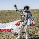 Baumgartner celebrates his successful  jump from 128,100 feet.