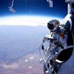 Baumgartner preparing for his dive from the stratosphere.
