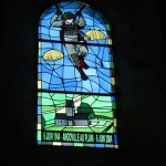 A stained glass window in Angoville au Plain honors the paratroopers who liberated the village