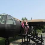 Sara Allen and Natalie McDonald inspect a British Horsa Glider