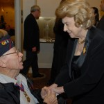 Lindy Boggs greets a veteran at the 2006 International Conference on WWII.
