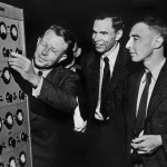 Ernest Lawrence, Glenn Seaborg and Robert Oppenheimer at the control panel of the new 184-Inch cyclotron, 1946.  Image courtesy of the Lawrence Berkeley National Laboratory