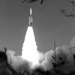 The launch of Voyager 1 from Kennedy Space Center at Cape Canaveral, Florida.  Image courtesy of NASA Kennedy Space Center.