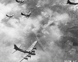 B-17Fs over Schweinfurt, Germany, August 17, 1943