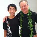Author and screewriter Graham Salisbury with Kyler Sakamoto, who will play Tomi Nakaji in  the Under the Blood-Red Sun film. Image courtesy of Under the Blood-Red Sun.
