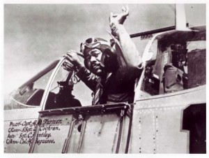 Tuskegee Airman Captain Andrew D. Turner in his P-51C fighter aircraft