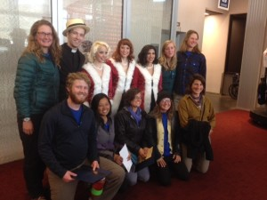 """Members of Wild River Academy's Paddle Forward Expedition with the cast of """"A Swingin' Christmas."""""""