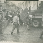 American soldiers evacuating people from the path of Mt. Vesuvius eruption in San Sebastiano, Italy on March 21, 1944. U.S. Army Signal Corps photograph, from the collection of The National WWII Museum.