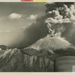 A U.S. Navy photographer, used to shooting the perils of war, takes on one of nature's upheavals as he catches a column of smoke rising above the treacherous volcano near Naples, released April 5, 1944. U.S. Navy Official photograph, Gift of Charles Ives, from the collection of The National WWII Museum.