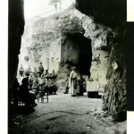 "Original caption: Signal Corps Photo 9 April 1944. (Italy) Easter Mass celebrated for troops in beachhead cave. Signal Corps Radio Telephoto from Italy #."" Italy. 9 April 1944"