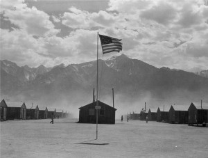 Flag at Manzanar, 3 July 1942. Photo by Dorothea Lange.