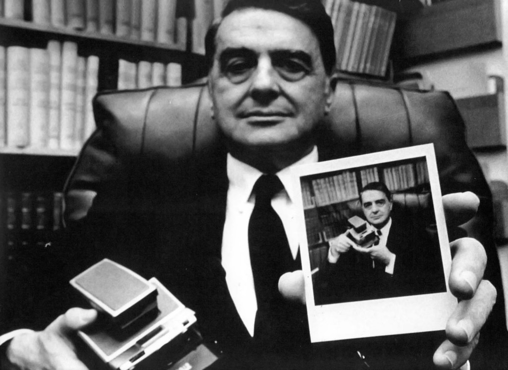 Edwin Herbert Land with his Polaroid camera. Image courtesy of Polaroid Corporation.