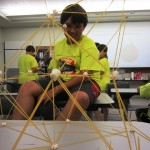 Who can make the tallest spaghetti and marshmallow tower?