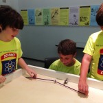 Bristlebots, made from toothbrushes and pager batteries, allow campers to have fun while learning about simple robots.