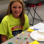 Campers learn about the strength of triangles through building geodesic domes from gumdrops and toothpicks.