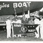 Ceremony for the 10,000th Higgins boat on Lake Pontchartrain in New Orleans, 23 July 1944. Gift in memory of Andres N. Horcasitas, 2009.428.010