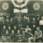 The women welders of Delta Shipbuilding Company on January 7th, 1943. Mildred Aupied is in the top row, seventh from the left. The National WWII Museum, 2014.