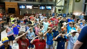 Campers playing a game of Sergeant Says during the annual Family Overnight.