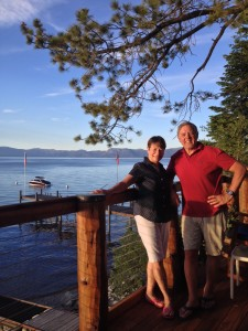 Jennifer and Phil Satre at Lake Tahoe on their 41st wedding anniversary,