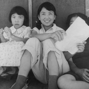 Dorothea Lange's picture of young girls practicing school songs, Manzanar Relocation Center. Courtesy of the National Archives and Records Administration.