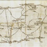 Hand drawn map showing one of the original Red Ball Express routes around Chartres, France