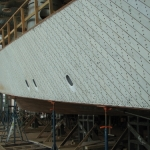 The hull and keel are both two-layered with planking and duck between.