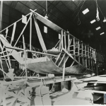 Close-up view of the construction of a boat's hull in Louisiana in the 1940s. Collection of Higgins Industries photographs from unidentified donor, from the collection of The National WWII Museum.