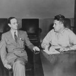 James Chadwick (Left) with Leslie Groves (Right) meeting as leaders of their respective country's atomic project.