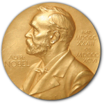 The solid gold medallion of the Nobel Prize.