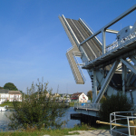 Pegasus Bridge in its up position.
