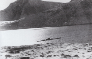 U-537 in St Martin's Bay, Labrador (from the collection of the National World War II Museum).