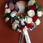 Memorial wreath made for Frank Bradetich, who died on June 6, 1944 at Omaha Beach.
