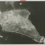 Aerial reconnaissance photograph of Iwo Jima prior to invasion, February 1945. U.S. Navy, Gift of Charles Ives, from the collection of The National WWII Museum. 2011.102.536.