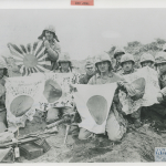 Iwo Jima battle flags captured by 5th Division Marines. U.S. Navy, Gift of Charles Ives, from the collection of The National WWII Museum. 2011.102.526.