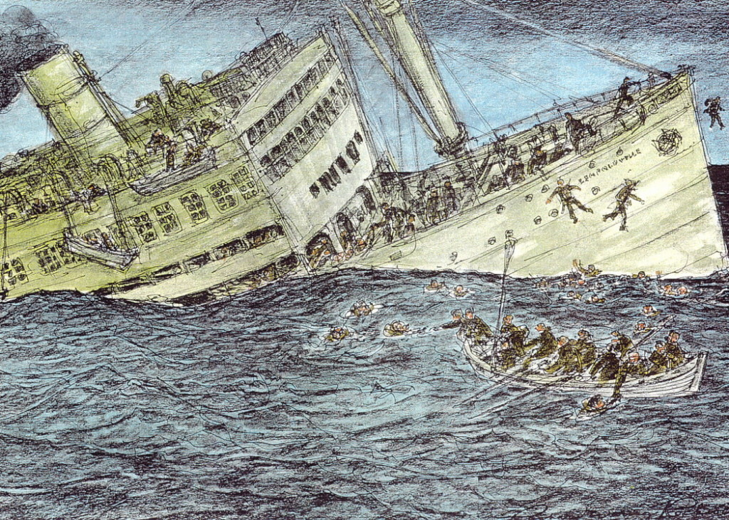 The Leopoldville sank by the stern at about 8:30 pm on December 24 just 5.5 miles of the coast of Cherbourg, France. Leopoldville Illustration by Richard Rockwell