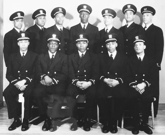 Group of recently appointed officers. Eleven of these men were appointed to the temporary rank of Ensign D-V(S), and one to Warrant Officer, USNR. February 1944.